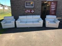 Cream leather suite * free furniture delivery *