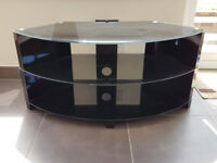 Black glass 2 tier TV stand
