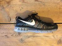 Brand New (Boxed) Nike Flynit Max Black Summit White Blue Glow Size: UK 9