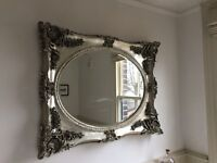 Large baroque stye mirror - distressed silver