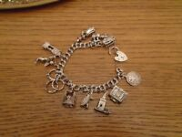 70's Vintage sterling Silver Bracelet with 11 charms