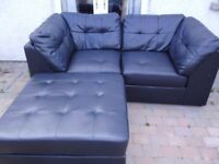 2 seater chaise sofa, black leather sectional, comes in 3 parts