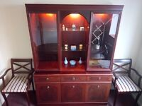 Regency style mahogany sideboard, dining table and chairs