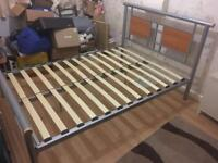 Aluminium/wooden Double bed and mattress to fit