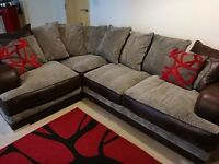 Corner Sofa Grey & Brown Faux Leather