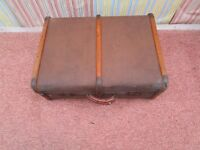 """SMALLER THAN USUAL VINTAGE CANVAS AND WOOD BOUND STEAMER TRUNK/COFFEE TABLE. 24"""" X 18"""" X 10"""""""