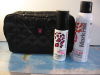 Mark Hill Work It Girl and Bedazzled Sprays in Black/Pink Playboy Washbag New
