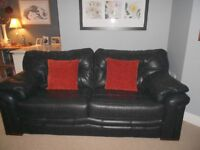 Black Leather G Plan 2 cushion - 3 seater sofa
