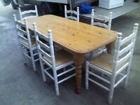 SOLID PINE TABLE AND 6 PINE CHAIRS