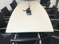 SET Boardroom meeting large 3m table with 8 leather office chairs GREAT QUALITY