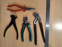Side cutters (sidecutter), Adjustable wrench (pipe wrench) & End-type wire cutter (wirecutter)