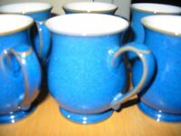 DENBY IMPERIAL BLUE CRAFTSMAN MUGS X 6 - IMMACULATE CONDITION - BARGAIN!!!