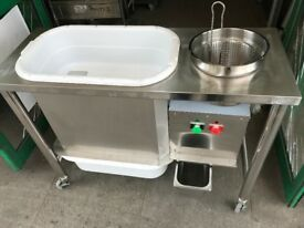 NEW FRIED CHICKEN BREADING TABLE CATERING COMMERCIAL KITCHEN EQUIPMENT SHOP RESTAURANT SHOP BAR