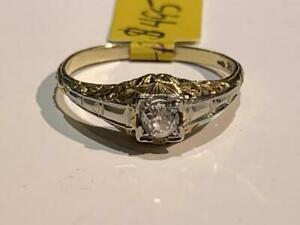 #196 14-18K WHITE & YELLOW GOLD OLD EUROPEAN CUT DIAMOND RING *SIZE 8 1/4* APPRAISED AT $1450 SELLING FOR $495