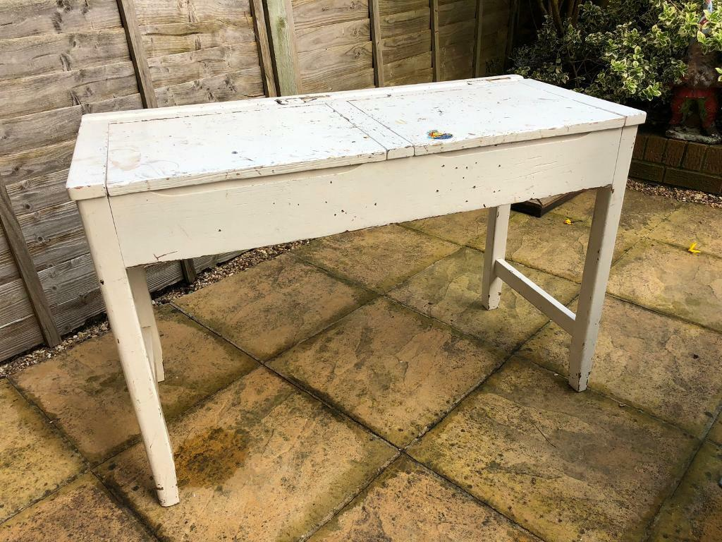 Lovely Old School Desk Vintage Solid Wood Dressing Table Upcycle
