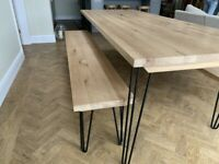 Oak Kitchen Industrial Hairpin Dining Table and Benches Modern Rustic