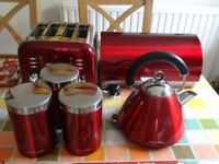 MORPHY RICHARDS KETTLE, TOASTER, BREAD BIN AND STORAGE JARS (RED)