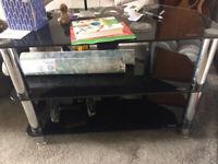3 tier heavy duty glass tv stand