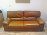 Sofa Brown Leather Two/Three seater chair settee