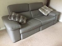 Natuzzi Editions Grey Leather 3 Seat Sofa & Armchair each with motorised(electric)foot, head rests