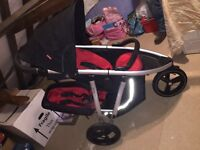 Phil and Teds Vibe Pushchair-Black and Red with matching Cocoon, double seat and double rain cover