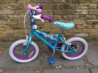 "Frozen themed Child's 14"" bicycle with stabilisers"