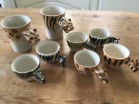 Collection of fun animals upottery cups
