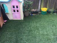 3 pieces of artificial lawn.