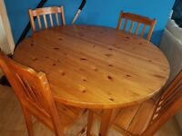 Free dinning table and four chairs