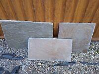 20 square metre york stone paving slabs.