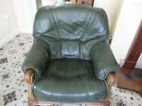 Green Leather Armchair & Heavy Oak Wood Frame