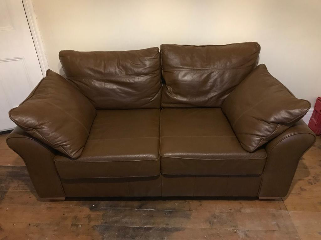 Next Leather Sofa two seater brown tan