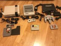 Nintendo NES, SNES, N64 retro consoles with mario