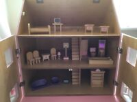 WOODEN PINK DOLLS HOUSE WITH FURNITURE