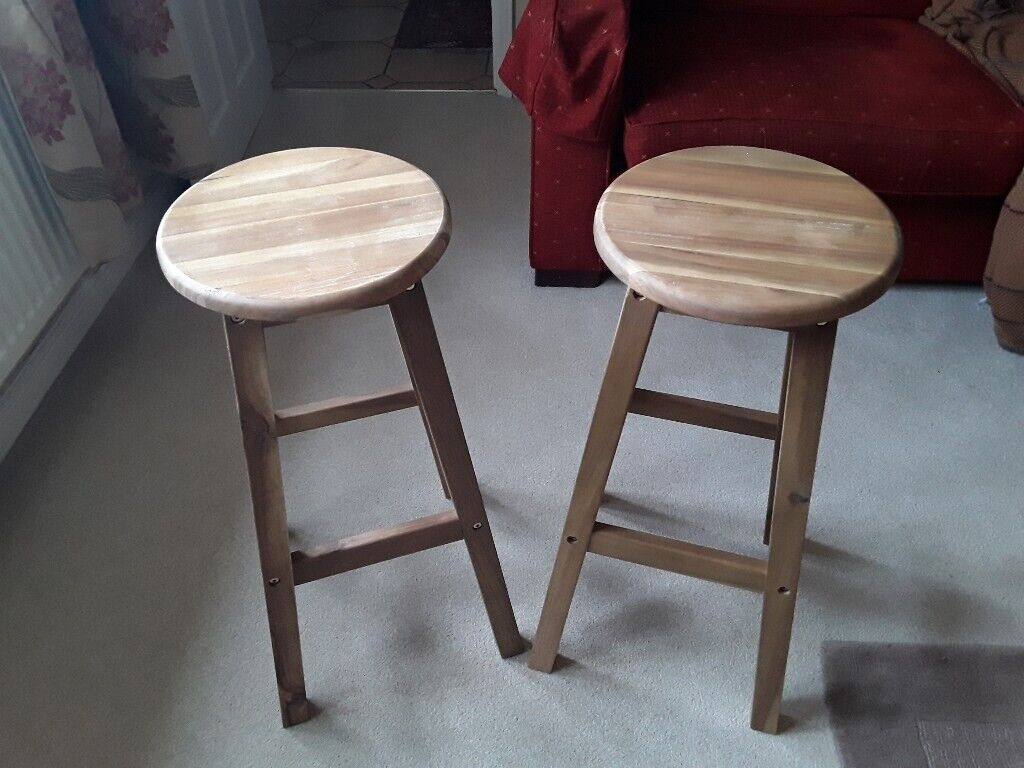 new product 569bb e53d5 2 wooden kitchen stools, recently purchased from B&Q in june. No longer  required.   in Chippenham, Wiltshire   Gumtree