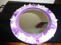 Handmade decorated mirror from Bali with sequins and butterfly design