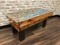A bespoke coffee table built from stone and timber