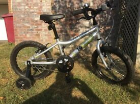 Ridgeback MX16 Terrain - silver bicycle with removable stablisers