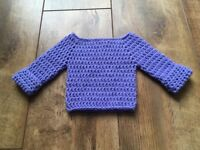 Handmade crocheted lilac baby sweater 0-3 months