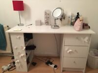 White desk with draws and shelving unit