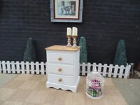 SOLID PINE FARMHOUSE BEDSIDE CABINET PAINTED WITH LAURA ASHLEY PALE DOVE AND WAXED