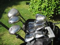 MENS RIGHT HAND GOLF CLUBS BAYHILL IN BAG WITH TROLLEY