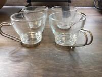 4 glass espresso cups and 4 regular size
