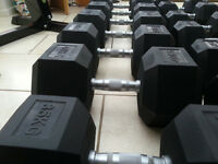 NEW BOXED RUBBER HEX DUMBBELLS HEAVY PAIRS 30KG TO 45KG GYM STANDARD HEAVY DUTY WEIGHTS