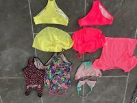 Various girls bikinis and swim suits age 9-10yrs