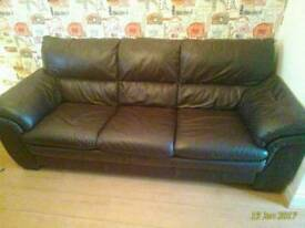 Leather 3 seater + chair & footstool