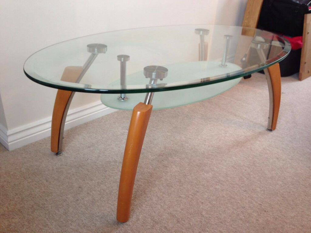 Glass Coffee Table with Wooden Legs
