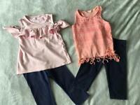 Girls Age 6-7 Summer Tops and Leggings Bundle