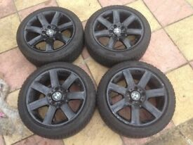 """Bmw 17""""inch Style 44 Alloy Wheels - Kleber New Tyres - Painted in Gloss Black - (E46) - All BMW""""s"""