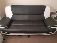 Black and white 3 & 2 seater leather sofas for sale